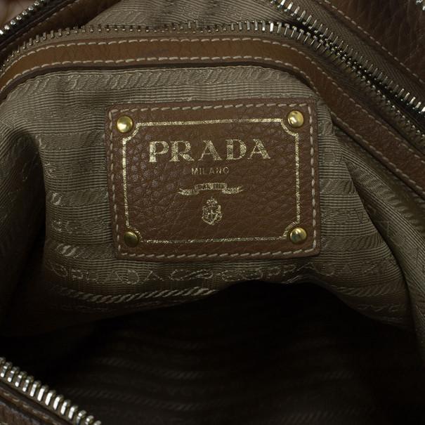 Prada Brown Nylon Logo Jacquard Hobo