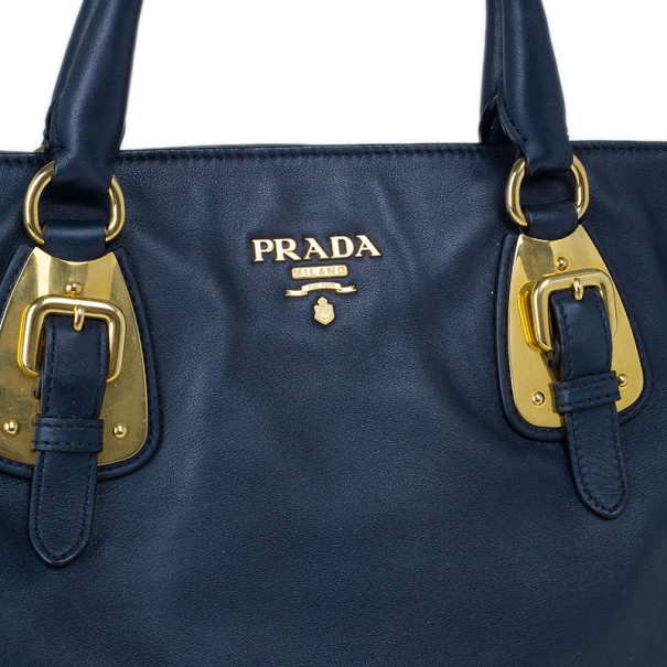 Prada Tessuto Leather Convertible Top Handle Long Tote Bag