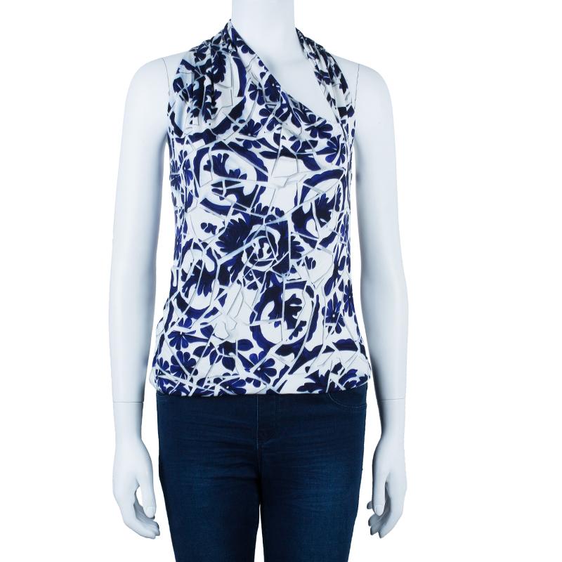 Gucci Blue White Halter Floral Top M