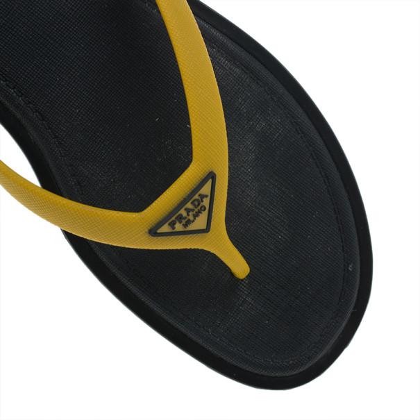 Prada Sport Yellow Crosshatch Rubber Flip-Flops Size 43