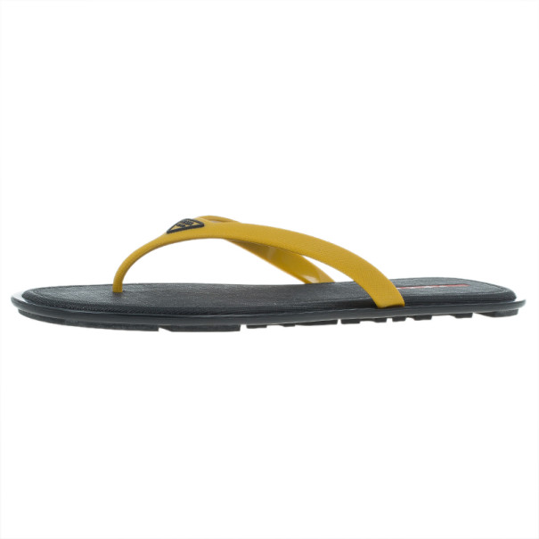 7c5aa8d65 Prada Sport Yellow Crosshatch Rubber Flip-Flops Size 43 - Buy   Sell - LC