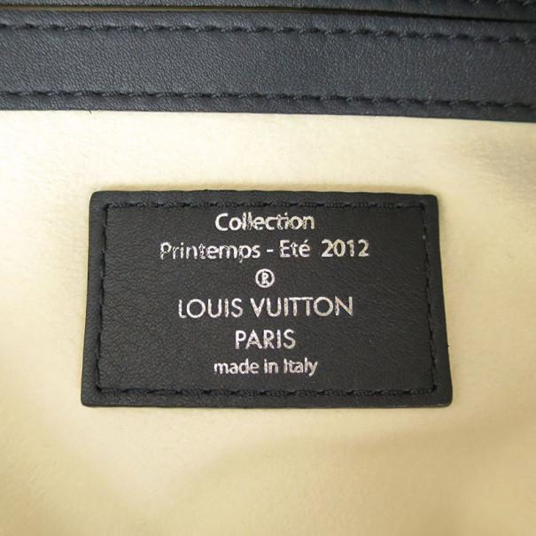 Louis Vuitton Navy and White Leather Boston Bag
