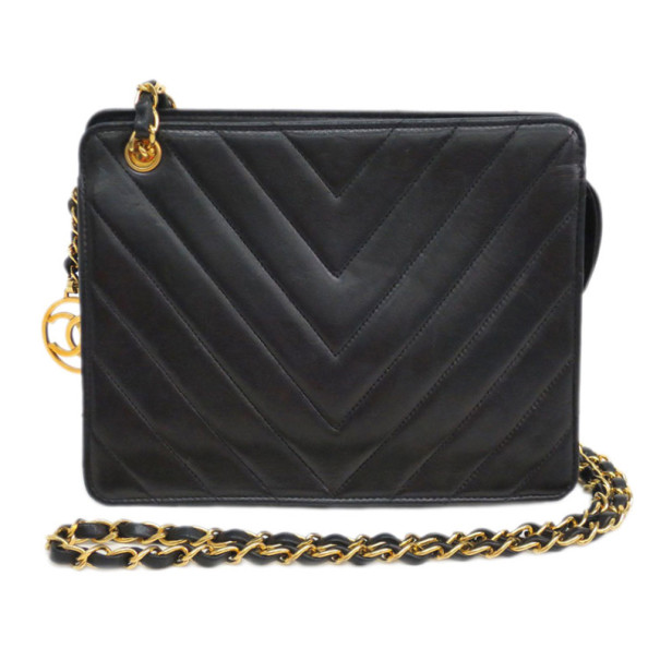 Chanel Black Chevron Lambskin Shoulder Bag