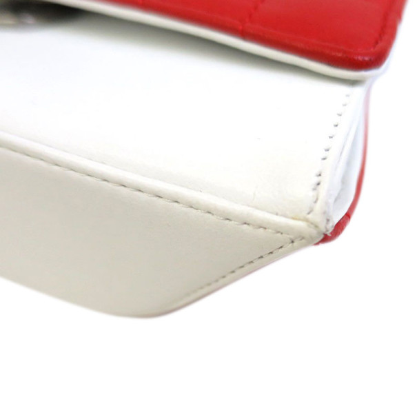 Chanel Red and White Lambskin Clutch
