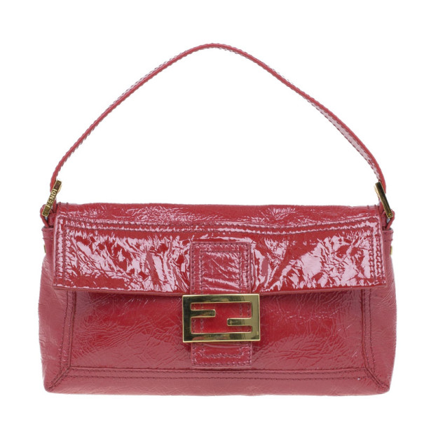 Fendi Red Patent Leather Logo Envelope Clutch