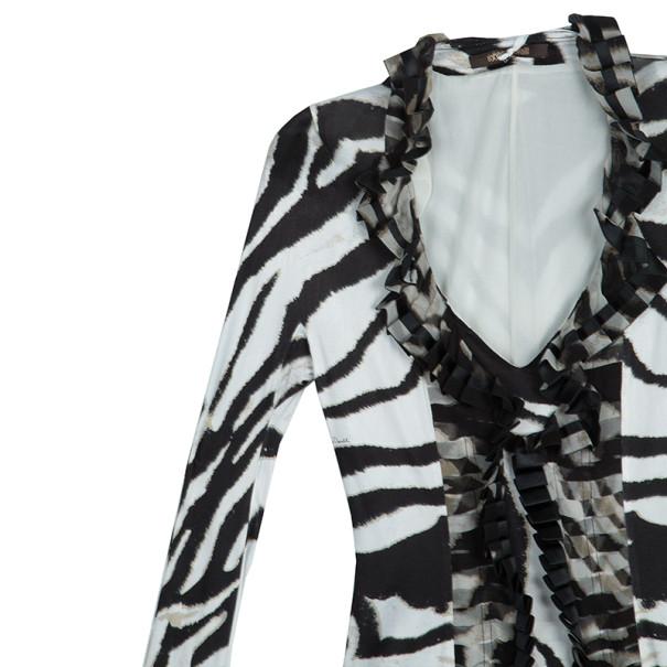 Roberto Cavalli Animal Print Ruffle Dress M