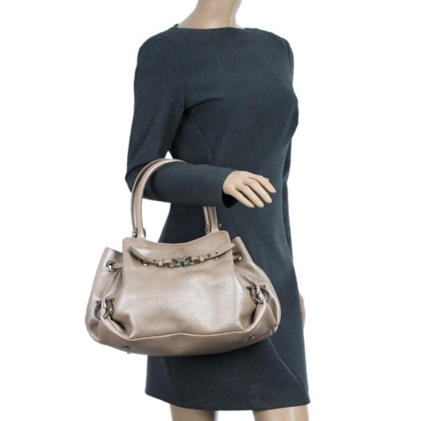 Salvatore Ferragamo Metallic Grey Leather Gancini Detail Handbag