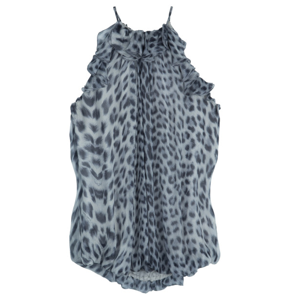 Roberto Cavalli Animal Print Halter Top M