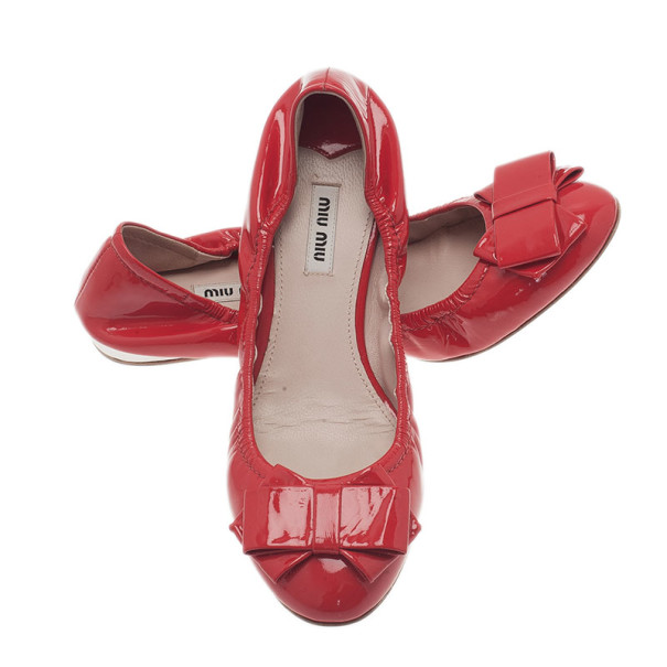 Miu Miu Red Patent Poppy Bow Ballet Flats Size 40