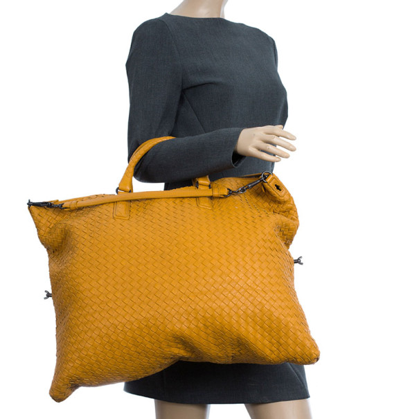Bottega Veneta Orange Nappa Intrecciato Convertible Bag