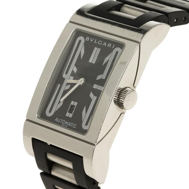 Bvlgari Black Stainless Steel Rettangolo Unisex Wristwatch 27MM