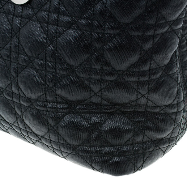 Dior Black Coated Canvas Cannage Tote