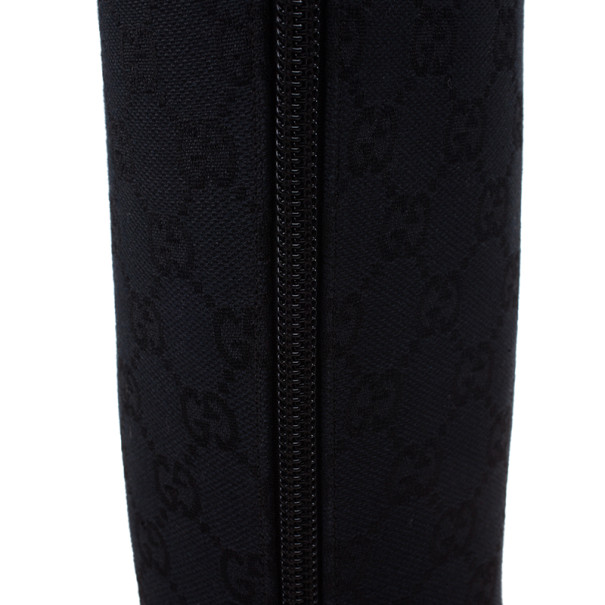 Gucci Black Guccissima Canvas Knee Boots Size 40
