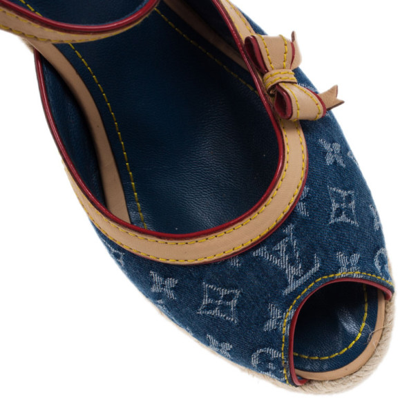Louis Vuitton Denim Monogram Espadrilles Wedge Sandals Size 39.5