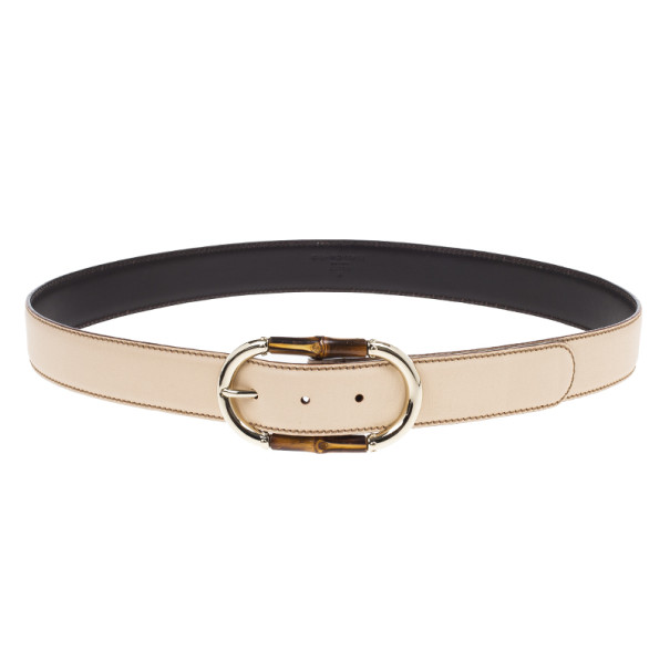 Gucci Beige Leather Bamboo Buckle Belt 95CM