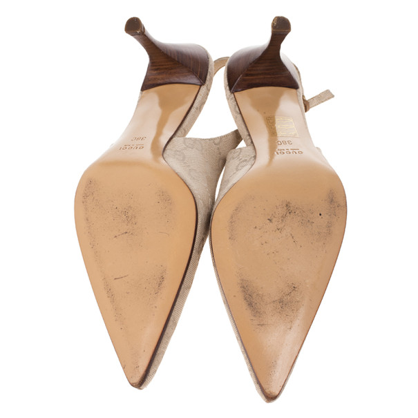 Gucci Beige Guccissima Canvas Pointed Toe Slingback Sandals Size 38