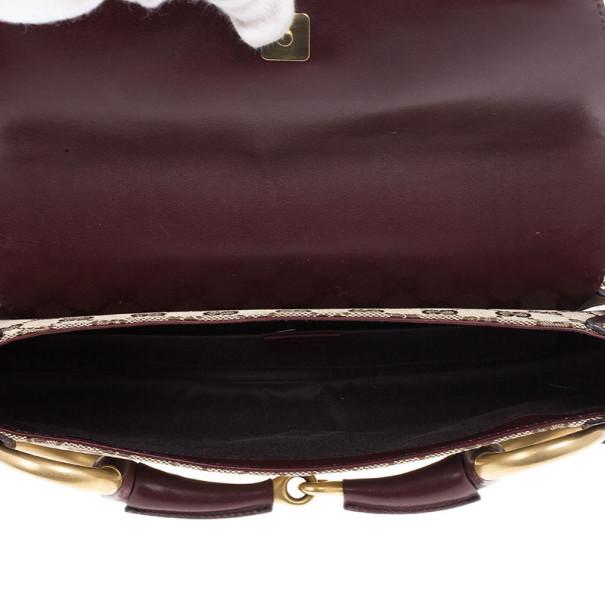 Gucci Beige and Burgundy Canvas Monogram Horsebit Flap Clutch