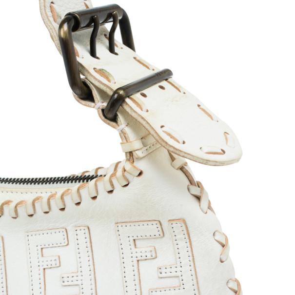 Fendi White Monogram Embossed Leather Ostrik Hobo