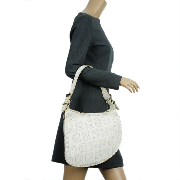 Fendi White Monogram Embossed Leather Ostrik Hobo