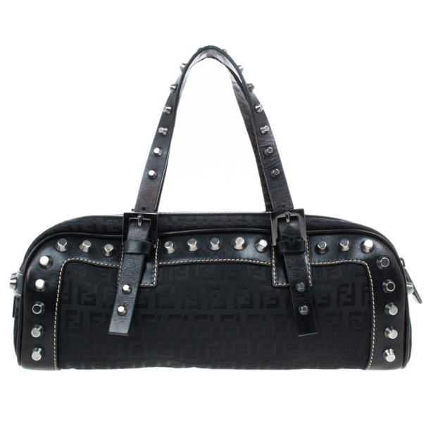 Fendi Small Black Zucchino Studded Bag