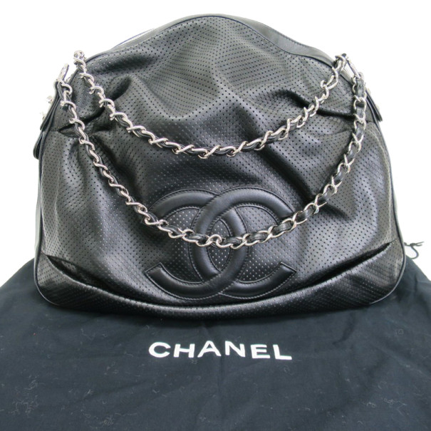 Chanel Black Leather Perforated CC Logo Hobo