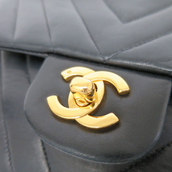 Chanel Black Chevron Lambskin Flap Shoulder Bag