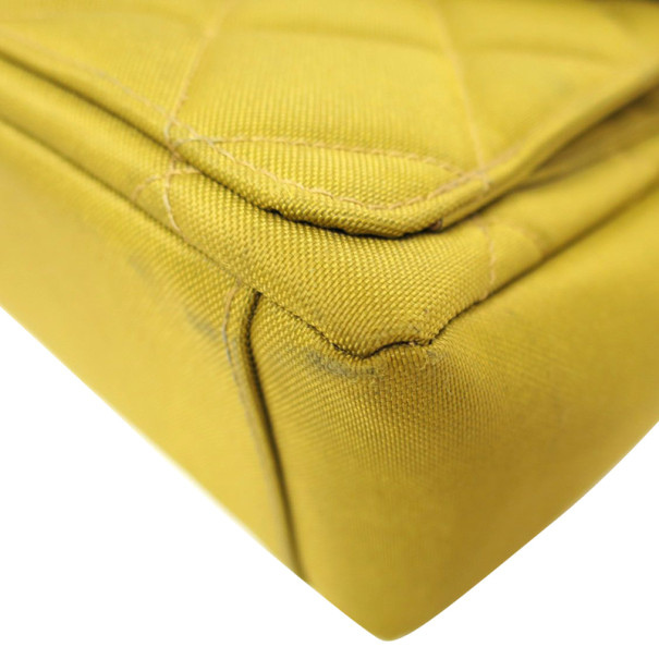 Chanel Yellow Nylon Quilted Two Pocket Shoulder Bag