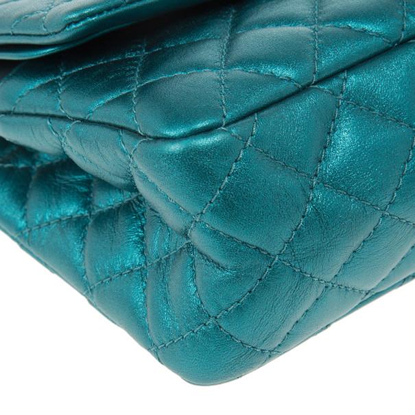 Chanel Blue Metallic Lambskin Reissue 2.55 Double Flap Shoulder Bag