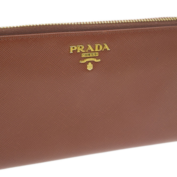 Prada Brown Saffiano Zip Around Wallet