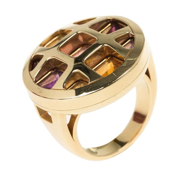 Cartier Pasha 18K Yellow Gold Multi Gemstone Ring Size 52