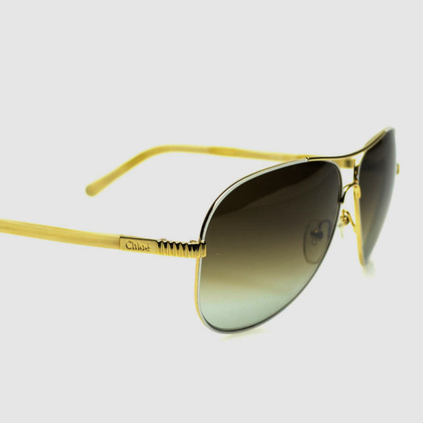 Chloé Gold and White CE102S Aviator Sunglasses