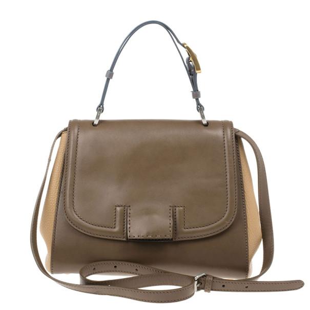 Fendi Brown Silvana Leather Top Handle Bag