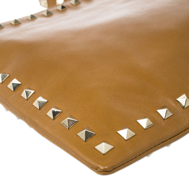 Valentino Brown Leather Rockstud Clutch