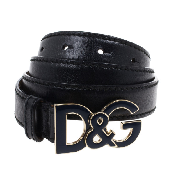Dolce and Gabbana Navy Blue Leather Logo Buckle Belt 90CM