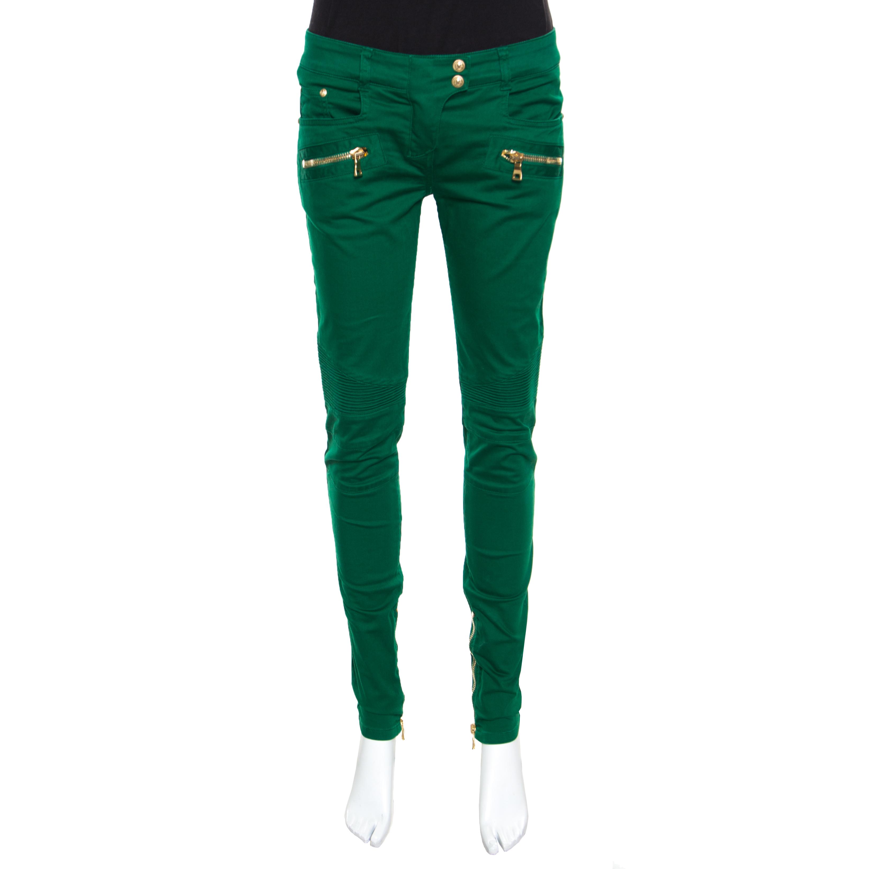 Купить со скидкой Balmain Green Denim Ribbed Panel Zip Detail Skinny Biker Jeans S
