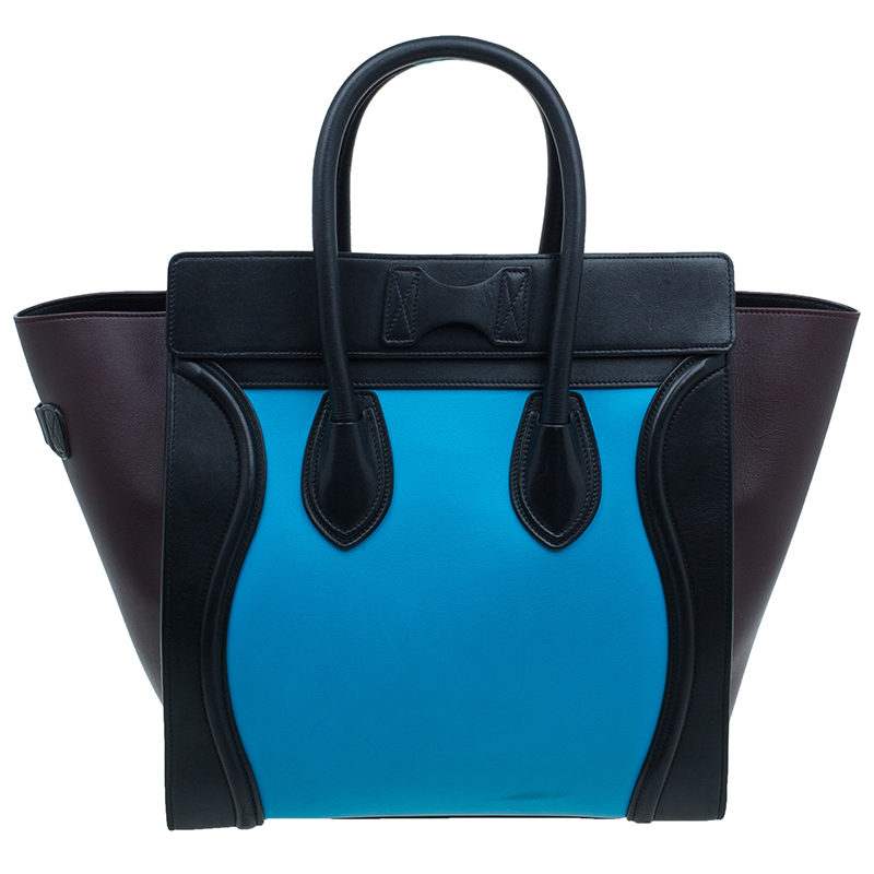 Celine Tri-Color Leather Mini Luggage Tote Bag