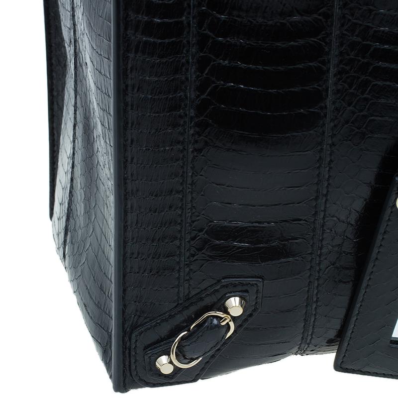 Balenciaga Black Python Papier A4 Tote