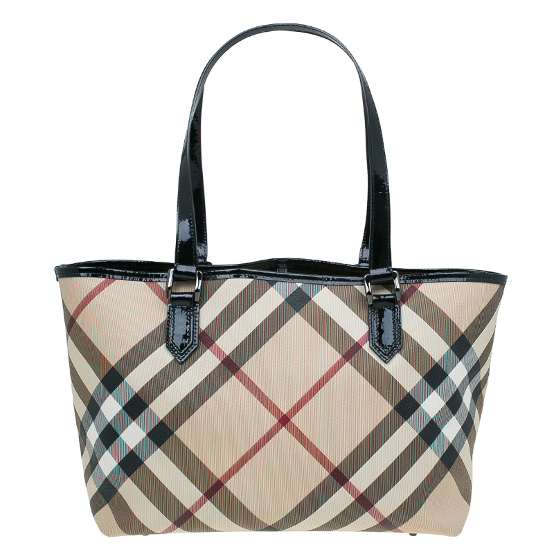 Burberry Beige/Black Supernova Check Coated Canvas Nickie Tote Bag