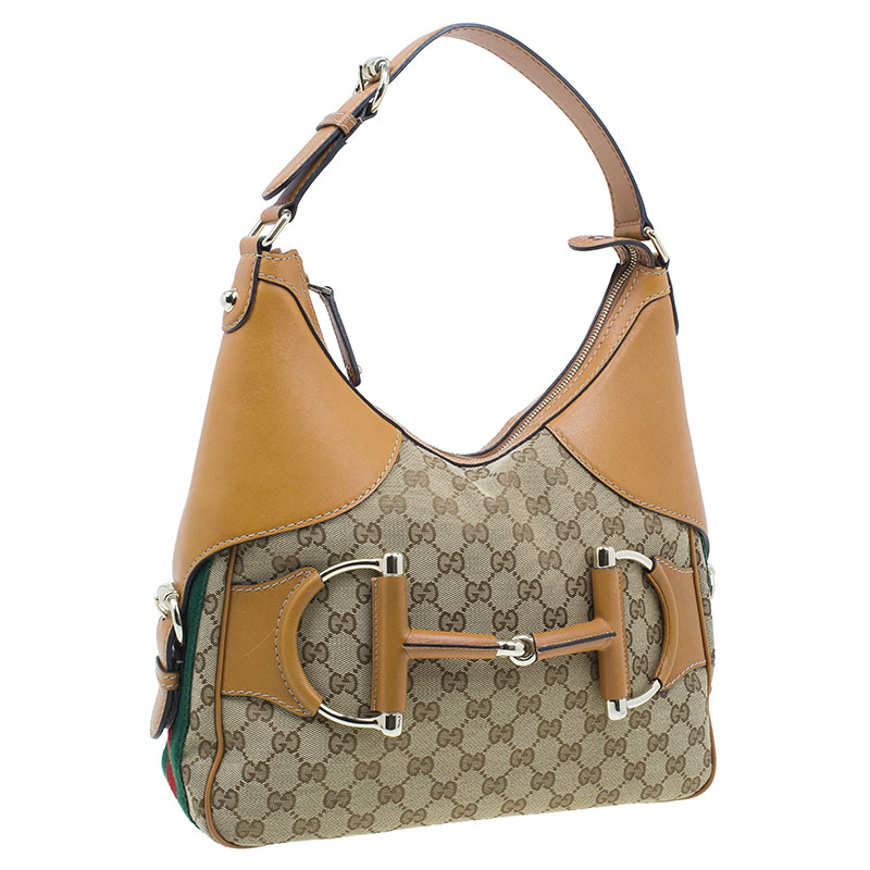 Gucci Brown Leather Canvas Medium Web Horsebit Heritage Hobo
