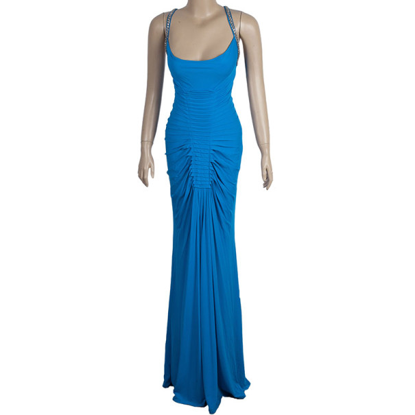Roberto Cavalli Embellished Strap Teal Maxi Dress S
