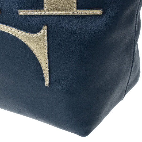 Carolina Herrera Blue Leather Logo Tote