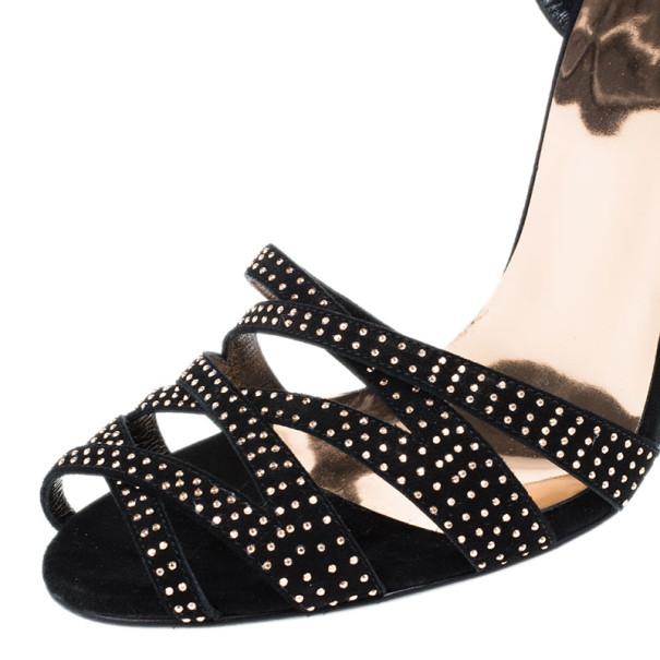 Gucci Black Suede Fleur Studded Sandals Size 40