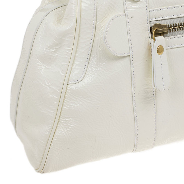 Fendi White Patent Leather Satchel