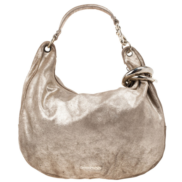 Jimmy Choo Bronze Leather Solar Hobo