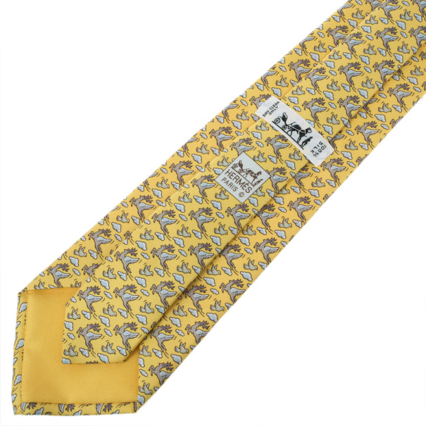 Hermes Yellow Flying Reindeer Print Silk Tie