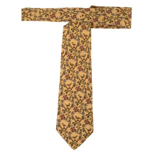 Salvatore Ferragamo Yellow Duck Print Silk Tie
