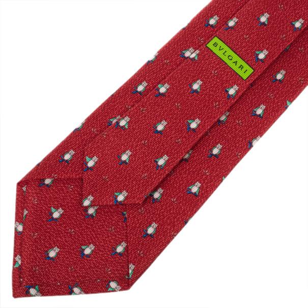 Bvlgari Red Owl Print Silk Tie