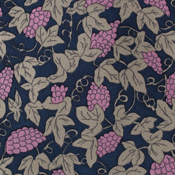 Hermes Blue and Purple Grapes Print Tie