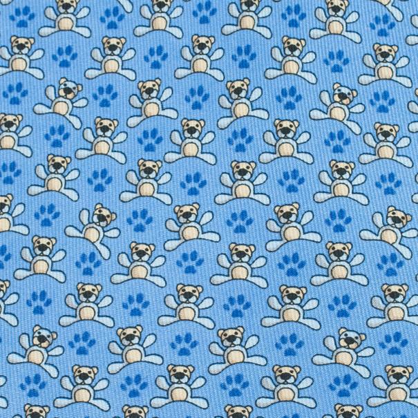 Salvatore Ferragamo Blue Bear and Paw Print Tie