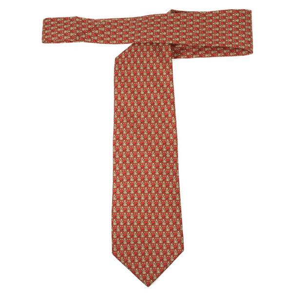 Salvatore Ferragamo Red Dog and Bone Silk Print Tie